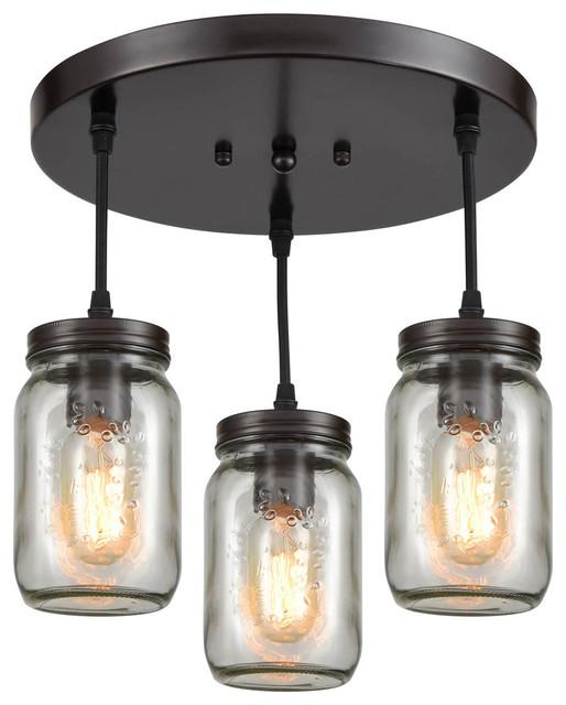 Gl Mason Jar Rustic Ceiling Lights For Kitchen Oil Rubbed Bronze 3 Light