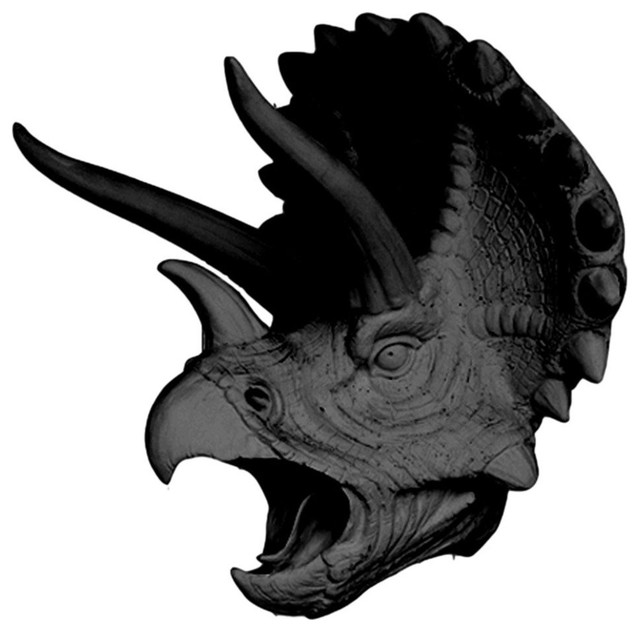 The Topps Faux Triceratops Head Wall Mount Sculpture Black