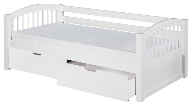 Camaflexi Twin Day Bed With Drawers, Arch Spindle Headboard, White Finish.