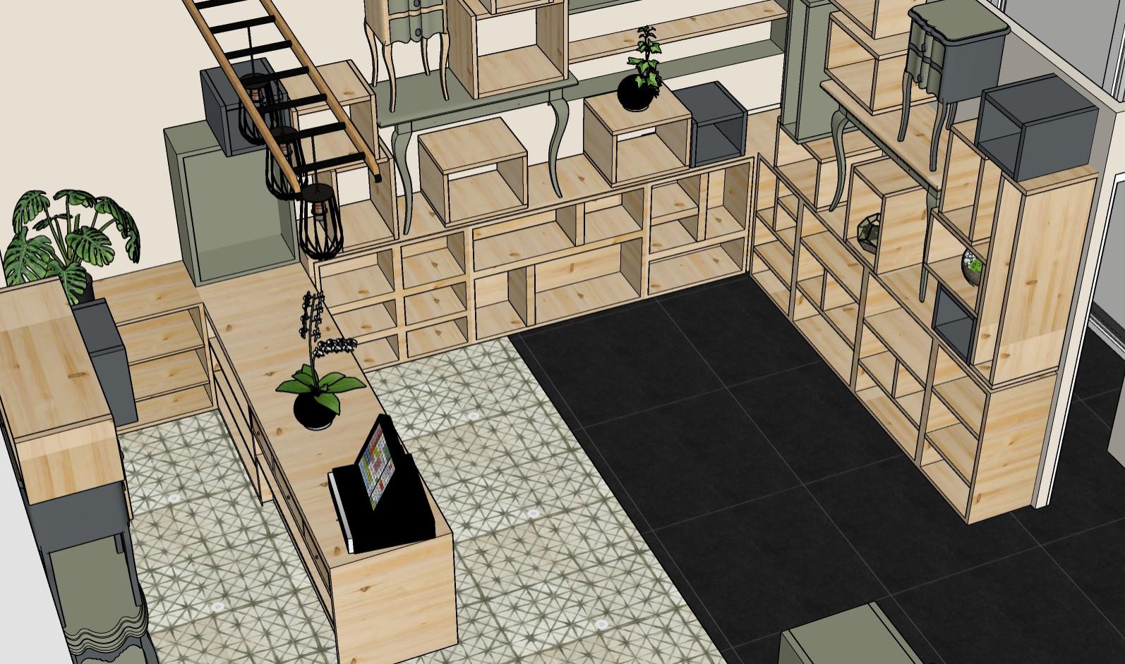 Projet d'aménagement et décoration Boutique Angers 3D