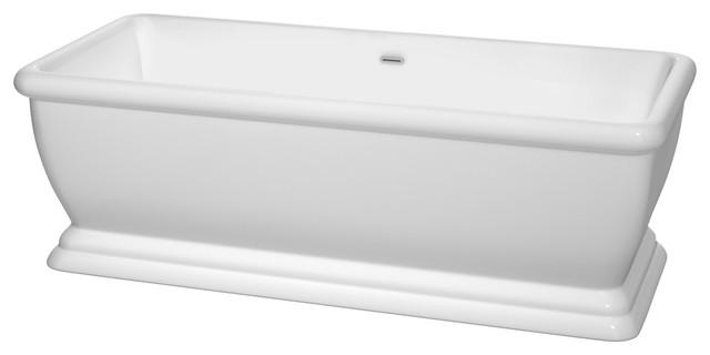 "Candace 68"" Freestanding White Bathtub, Polished Chrome, No Faucet."
