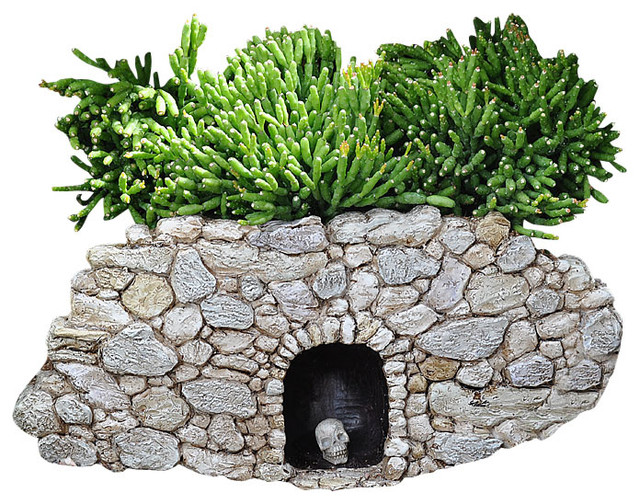 Miniature Fairy Garden Fiddlehead Fairy Village Troll Cave With Skull  Rustic Garden Statues