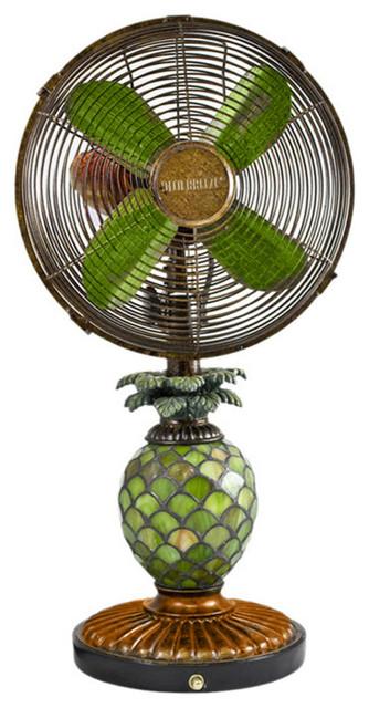 Table Fan/lamp, Mosaic Glass Pineapple.