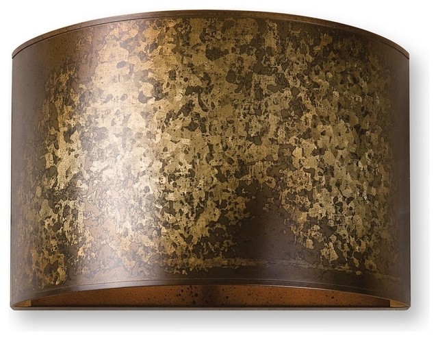 Antiqued Gold Round Metal Sconce, 1-Light Distressed - Contemporary - Wall Sconces - by My ...
