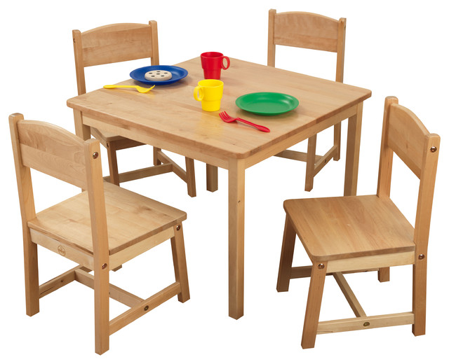Farmhouse Table and 4 Chairs Natural by Kidkraft Transitional Kids Table