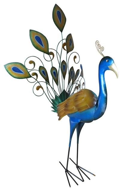 New Iron Peacock Decor Contemporary Garden Statues And Yard Art By Uber Bazaar Houzz