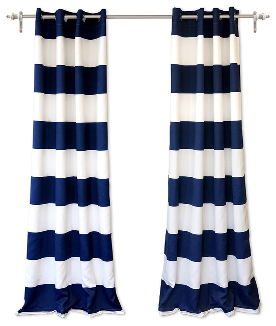 Driftaway Mia Stripe Room Darkening Blackout Window Curtains, Set Of 2, Navy.