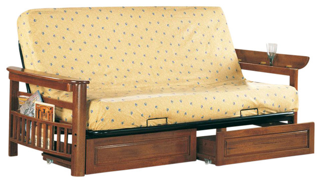 Casual Futon Frame With Flip Up Arms Magazine Racks Storage Drawers Traditional Futons