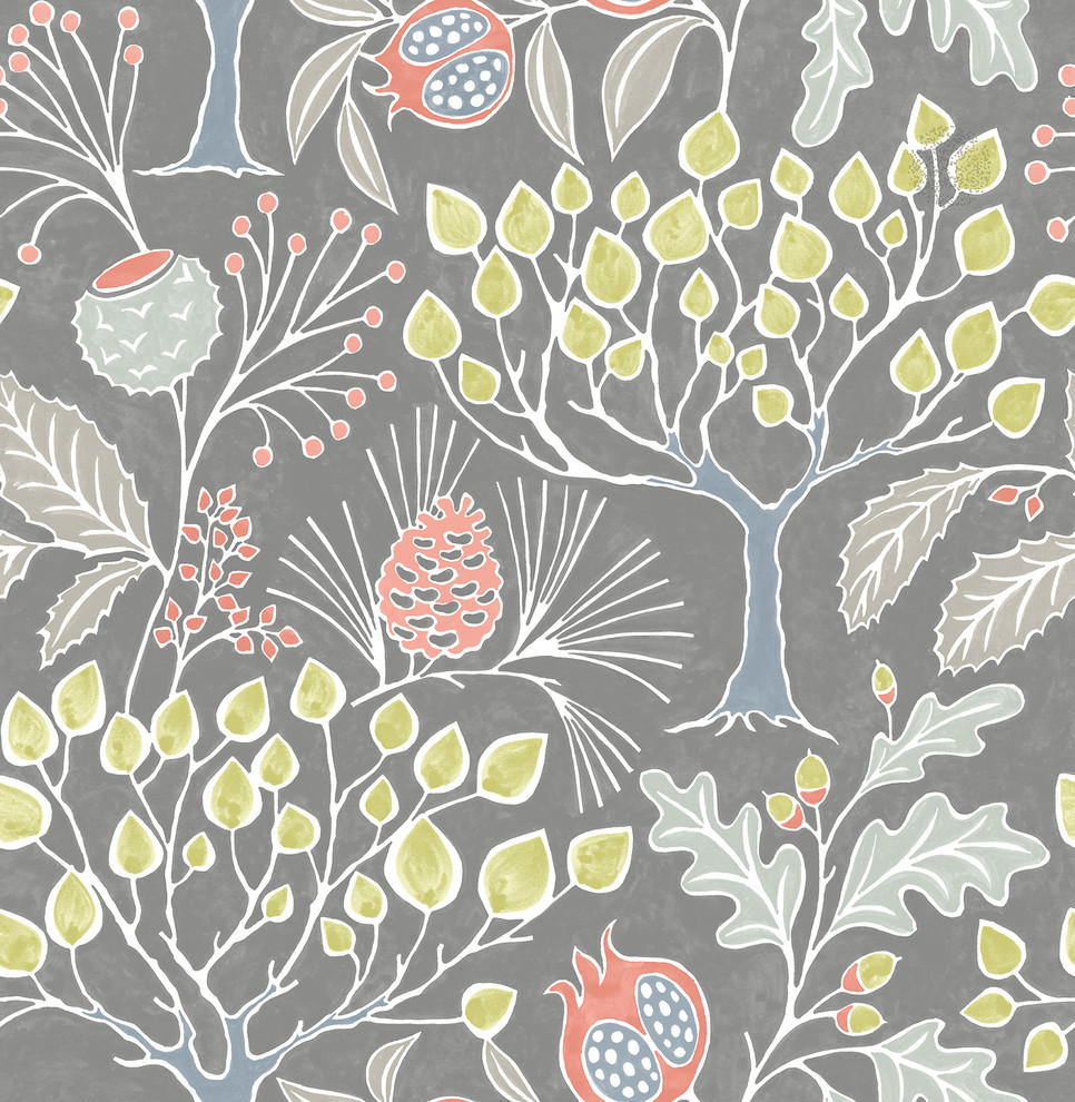 Nuwallpaper By Brewster Nu3039 Groovy Garden Gray Peel Stick