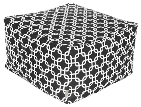 Outdoor Black Links Large Ottoman.