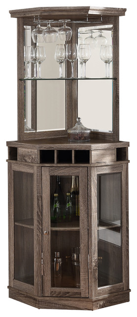 Maple Wood Corner Home Bar Unit - Transitional - Wine And Bar ...