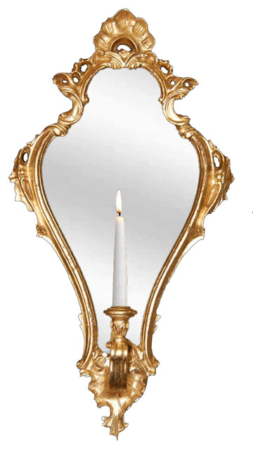 Empire Candle Sconce Mirror, Gold Leaf.