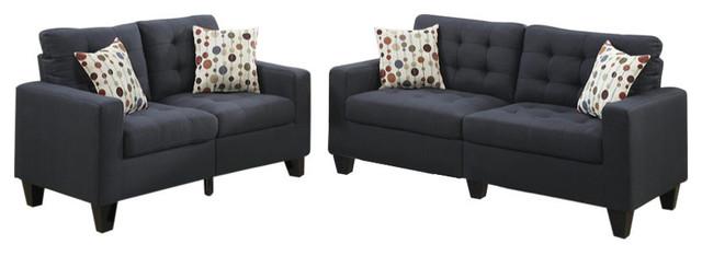 Linen Fabric 2-Piece Sofa Set, Dark Gray.