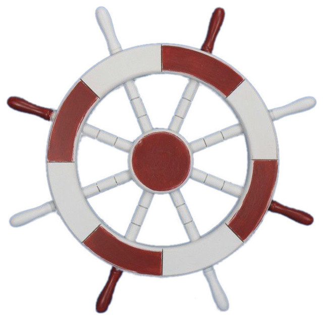 Decorative Ship Wheel Decor Red And White 18