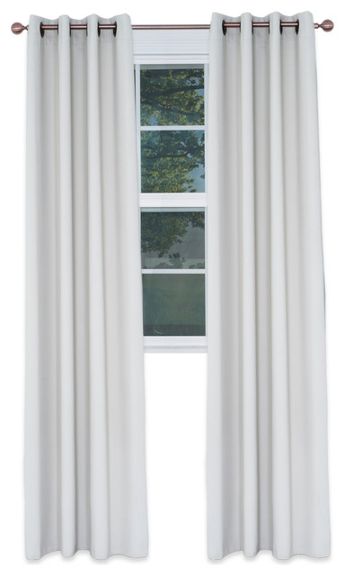 "Blackout Grommet Curtain Panel, 84"", Ivory, Single Panel."