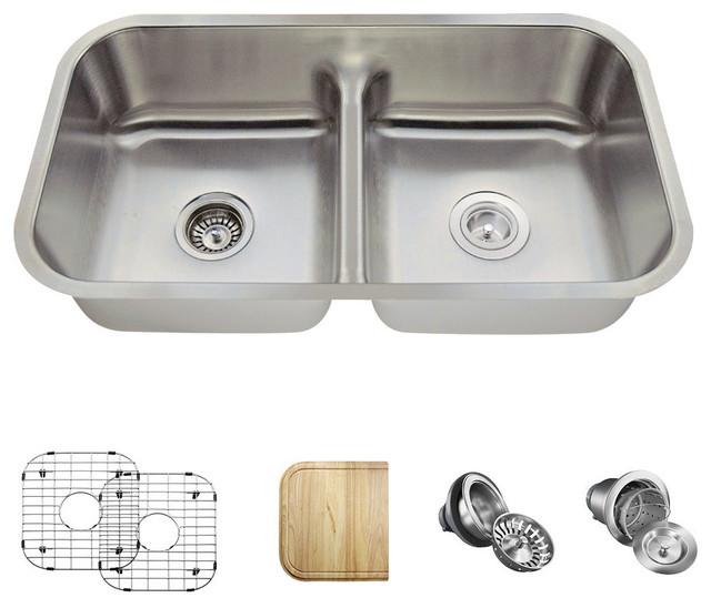 Half Divide Double Bowl Stainless Steel Kitchen Sink, 16-Gauge, Ensemble