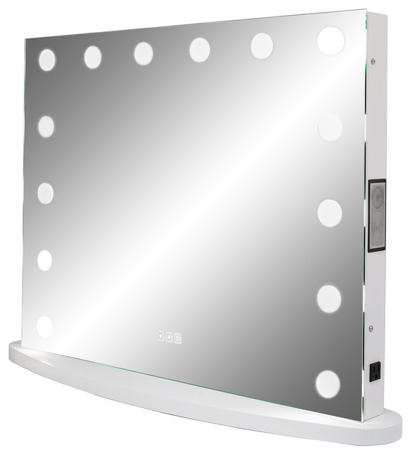 XL Hollywood Impulse LED Lighted Vanity Mirror With Touch Dimmer, Bluetooth