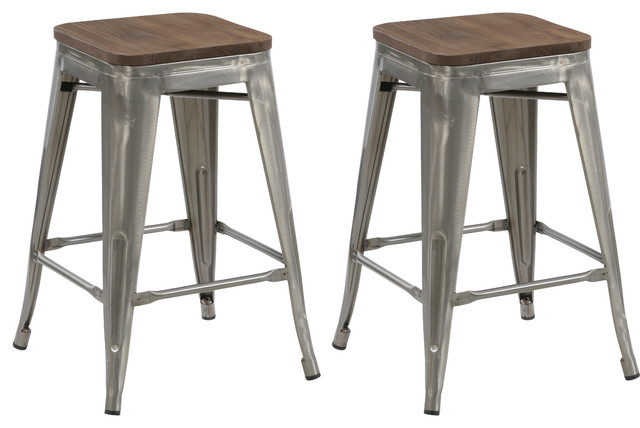 """24"""" Antique-Style Clear Brush Distressed Counter Stools Wood Seat, Set of 4"""