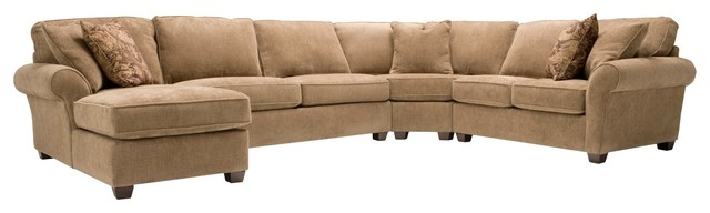 Attrayant Chenille Sectional Sofa W/ Full Sleeper