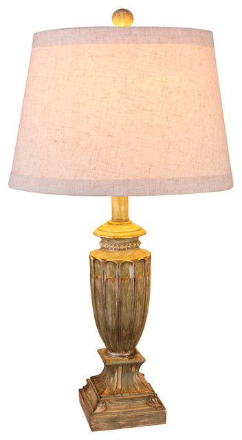 Resin Table Lamp, Antique Beige, 26.