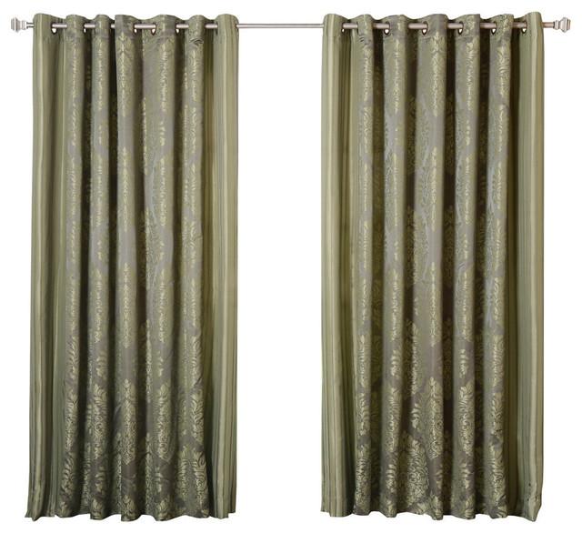 Wide Width Damask Jacquard Grommet Curtain, Lime.
