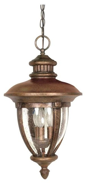 Nuvo Galeon 3 Light 20 Hanging Lantern W/ Clear Seed Glass.