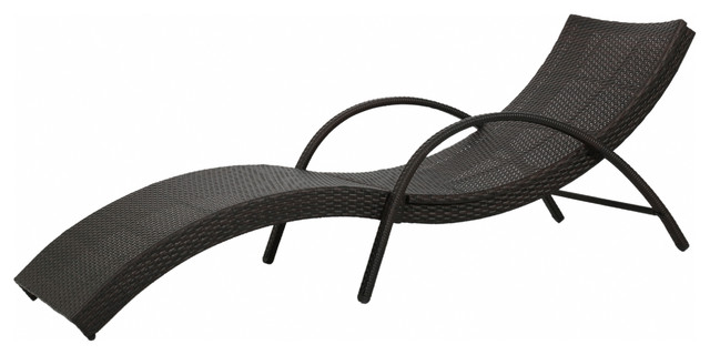 Maureen outdoor brown wicker folding armed chaise lounge for Brown chaise lounge outdoor