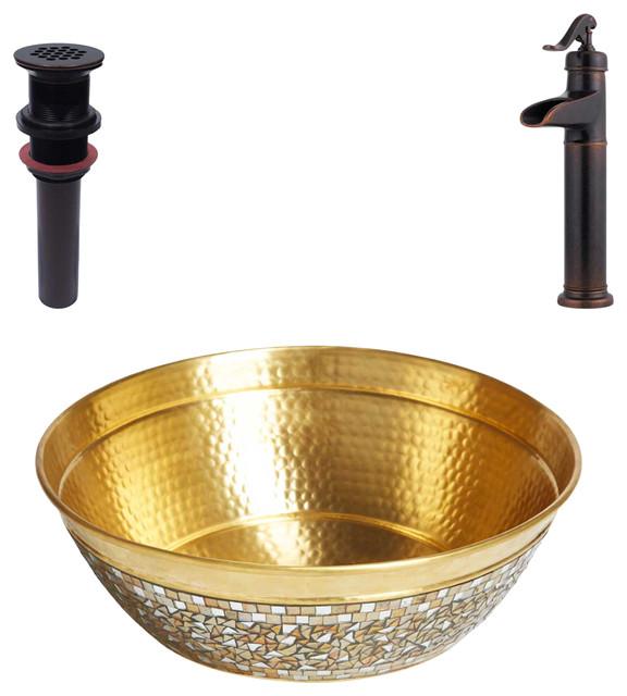 Shockley Brass Vessel Bath Sink Kit With Pfister Bronze Faucet & Drain