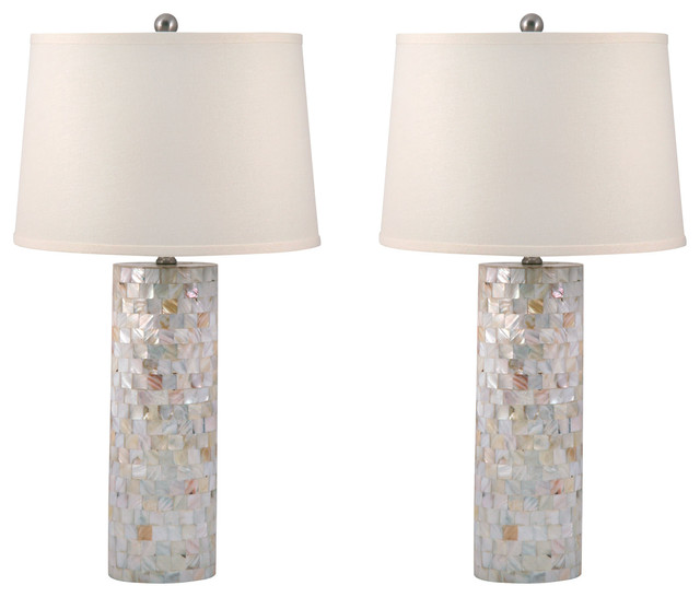 Mother Of Pearl Cylinder Table Lamp, Set Of 2, Standard.