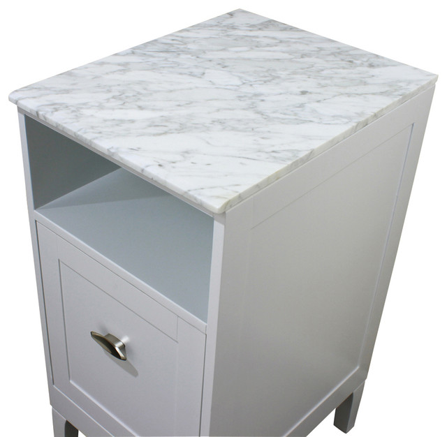 16 in white carrara marble top bathroom cabinets and