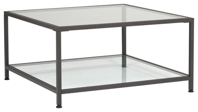 30 X 30 Square Coffee Table.Camber 30 Modern Metal And Glass Square Coffee Table In Pewter Clear