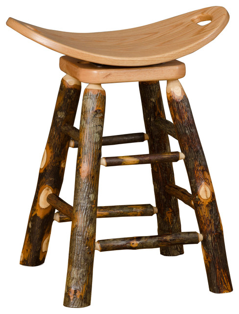 Rustic Hickory Swivel Saddle Stool Counter Height