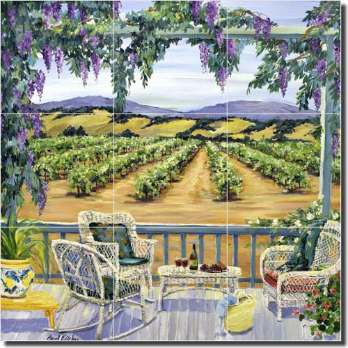 artwork on tile walker vineyard landscape ceramic tile