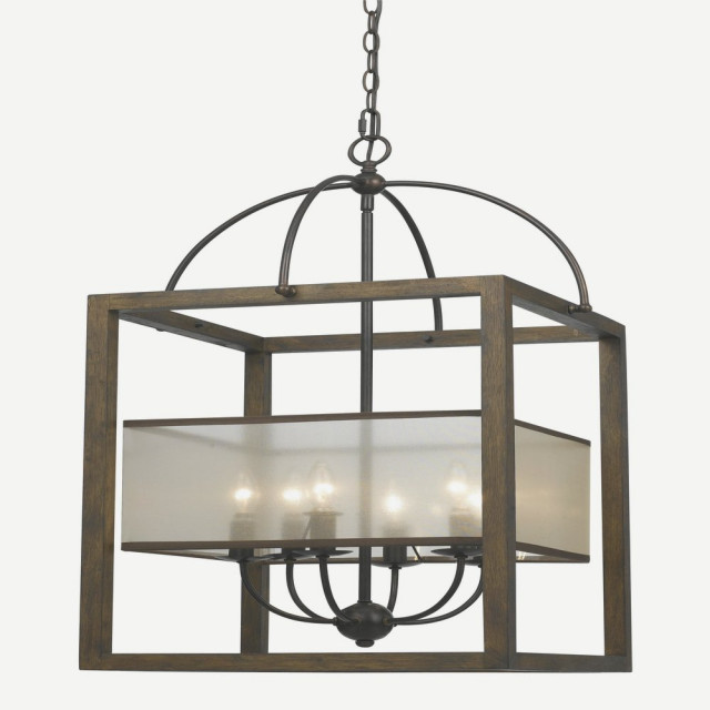 Chandelier Natural Wood White