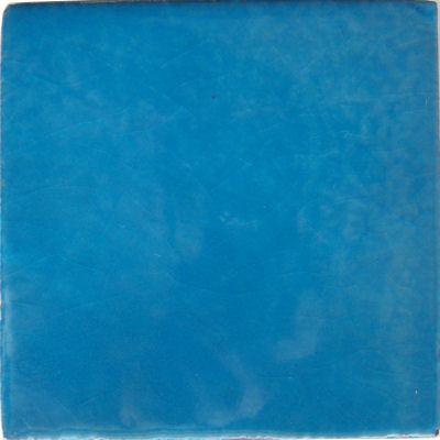 """6""""x6"""" Aqua Blue Talavera Mexican Tile, Set of 4"""
