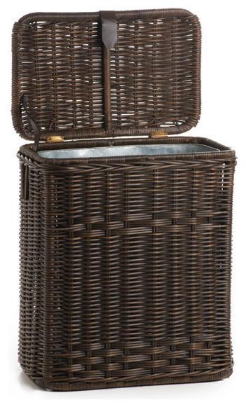 wicker kitchen trash basket with metal liner antique walnut brown trash cans