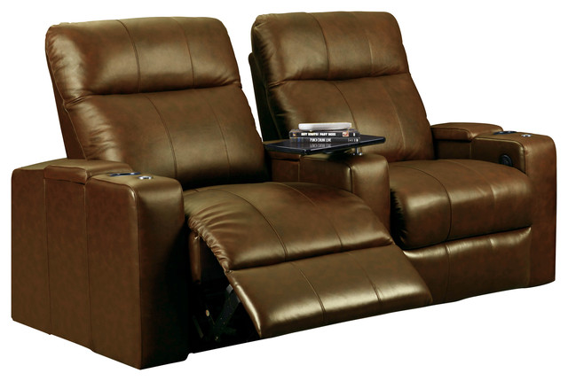 Merveilleux Row One Plaze Straight Row Home Theater Seats, Brown Bonded Leather, 2 Seats