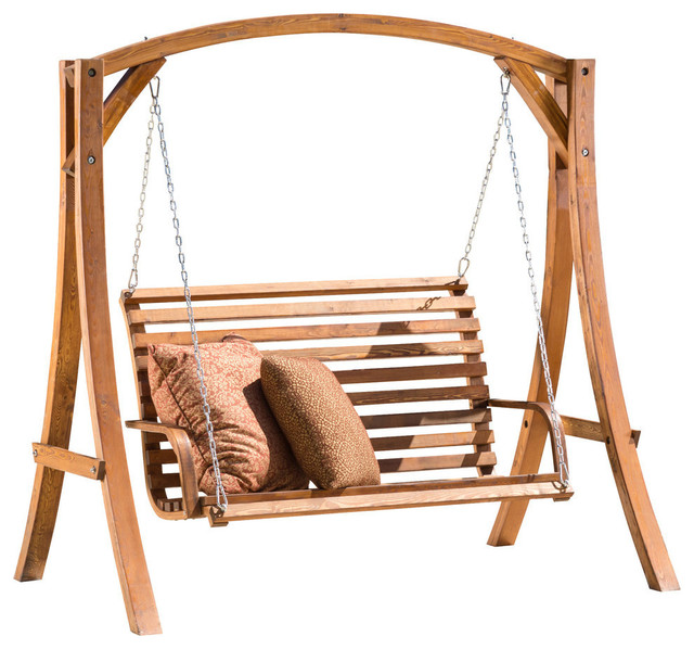 Marlette Outdoor Teak Stained Wood Swinging Bench And Base