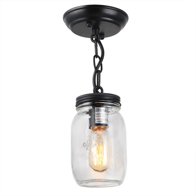 Modern 1-Light Glass Mason Jar Ceiling Lights.