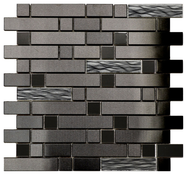 Black Stainless With Black Wave Glass Mosaic Tile Sample modern mosaic tile. Black Stainless With Black Wave Glass Mosaic Tile Sample   Modern