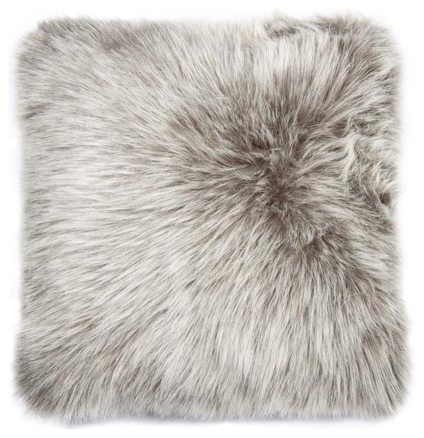 """Belton Faux Fur Pillow, Gray, 18""""x18"""""""