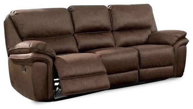 Double Recliner Sofa With Center Console And Cupholder Brown