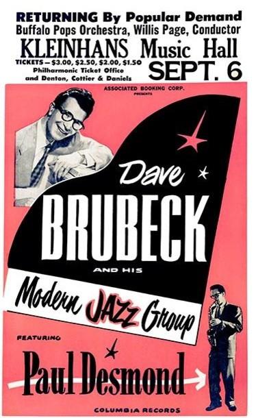 Dave Brubeck Buffalo Ny 1957 Concert Poster