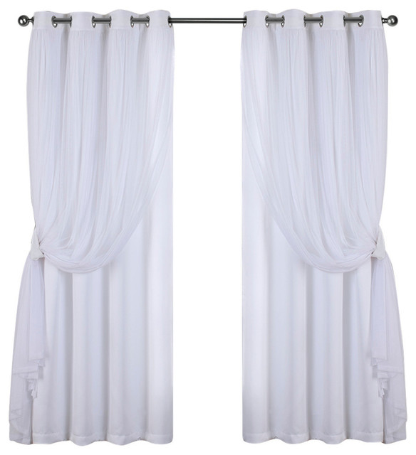 "Catarina Blackout Window Curtain Panel, Set Of 2, Winter White, 52""x84""."