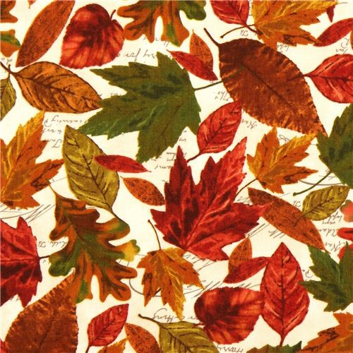 Beige Timeless Treasures Autumn Fabric Colourful Leaves