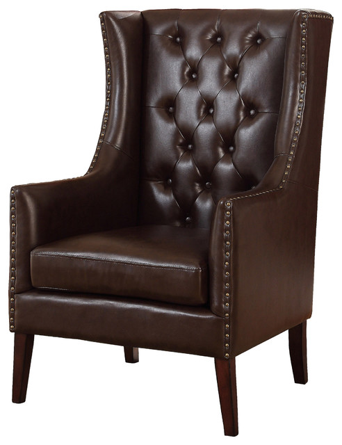 Executive Traditional Faux Leather Accent Arm Chair ...