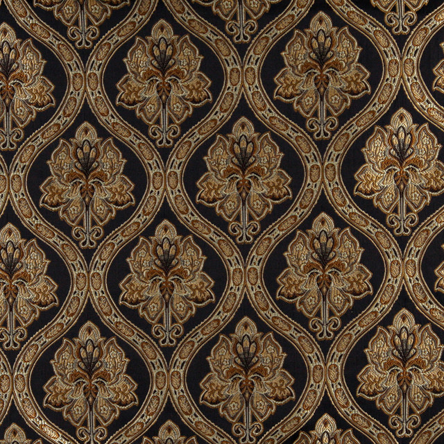Midnight Gold And Ivory Traditional Brocade Upholstery Fabric By The Yard