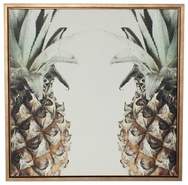 """pineapples"" Canvas Wall Art, Gold Frame, 24""x24""."