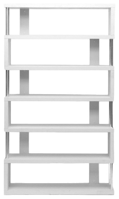 Baxton Studio Barnes Six, Shelf Modern Bookcase, White.