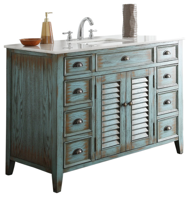 abbeville cottage style vanity with sink distressed blue 47 beach style photos bathroom vanity